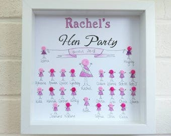 Hen Party gift Hen do gifts  button frame gift personalised gifts for her bride to be wedding