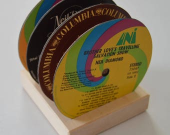 4 vintage neil diamond record vinyl label drink coasters with wooden display base
