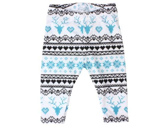 Fairisle Deer Baby Leggings Christmas Leggings Winter Leggings Girl Leggings Boy Leggings Holiday Leggings Christmas Baby Clothes