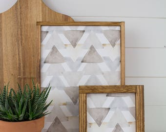 Handmade Watercolor Triangle Art - Two pc Gallery Wall Frames Set of Salvaged Wood with neutral gray watercolor triangle pattern