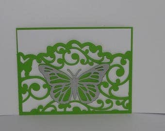 Arabesque Butterfly wallet wedding invitation