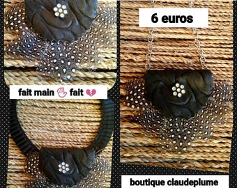 Pendant leather & feathers