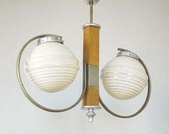 GOLDEN CREAM CHANDELIER Art Deco Vintage Light // Early Mid century Two Arm Opaline Chandelier // Hollywood Regency