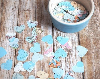 World map paper hearts - wedding confetti  - paper shapes - table decoration - pack of 200 - scrapbooking