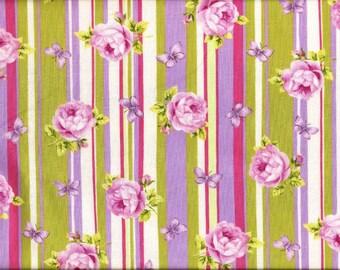 Tissu coton Rayures et Roses pour loisirs créatifs, patchwork, vêtements légers