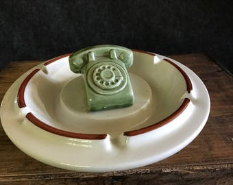 Vintage green rotary dial telephone ashtray