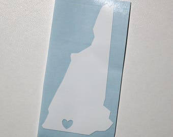 "Vinyl Decal - New Hampshire ""Home"" & Heart"
