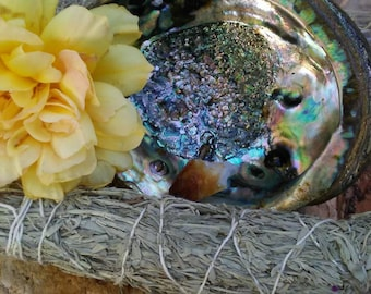 """Prosperity Smudging Kit with 7"""" abalone shell, wooden tripod stand and citrine point stone, 9"""" prosperity smudge stick cleansing  incense"""