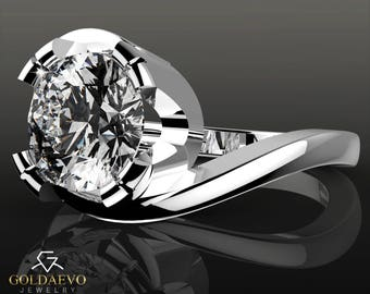 Moissanite engagement ring White gold 14k Round Brilliant cut  2.0 ct D/VVS flower solitaire solid real anniversary wedding promise