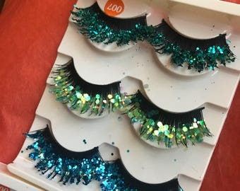 Mermaid eyelashes, glitter eyelashes, false eyelashes, costume, glitter makeup, glitter eyeshadow