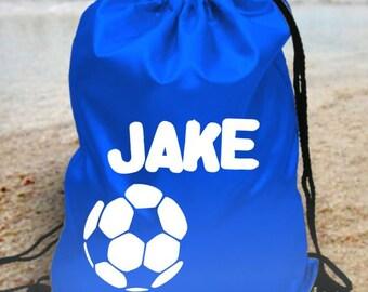 Personalised kids gym bag school bag kit  pe bag - - your name - football design
