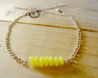 Silver chain bracelet and yellow polymer clay flat beads