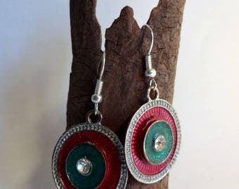 Earrings turquoise and raspberry pink