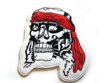 Bandana Skull Biker Embroidered Patch Appliqué