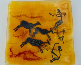 Fused glass dish with Cave Art motif