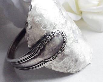Silver  Spoon Cuff Bracelet, Antique Spoon Bracelet, Silverware Cuff Bracelet, Antique Silverware  Jewelry, Vintage Silverware  Bracelet