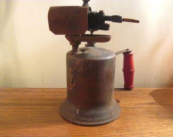 Turner Brass Works Industrial Blow Torch, Red Wooden Handle, Industrial, Steampunk