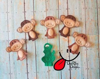 5 Little Monkeys teasing Mr. Alligator finger puppets