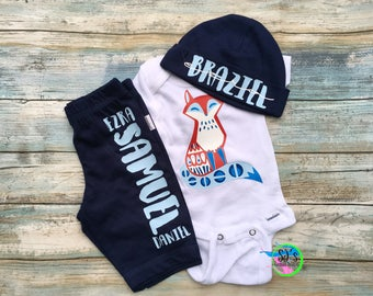baby boy outfit, coming home outfit, baby boy outfit, aztec outfit, aztec baby outfit, fox boy outfit, baby outfit, baby shower gift, boy