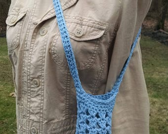 crochet water bottle holder,  shoulder cotton beverage bag for young girls, cell phone tote