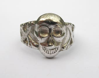 Second and Final Payment - 50% Balance - RESERVED - Antique ww1 Memorial Skull and Crossbones Ring, c.1915-1920