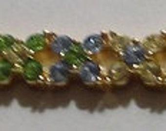 "Joan Rivers Peridot Green Blue and Yellow Brilliant 8"" Bracelet"