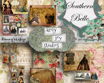 Southern Belle  Southern Charm  Printable Journal Kit  Victorian Journal  Vintage Printable Set  Handmade Books  ClipArt  Ephemera Vintage