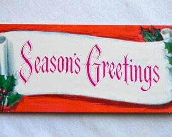 Vintage Christmas Card  - Pink Seasons Greetings - Unused