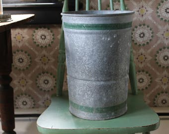 Vintage Galvanized Bucket with Green Stripes, Tall Galvanized Pail, Metal Pail, Zinc Pail, Galvanized Metal Flower Bucket, Farmhouse Pail