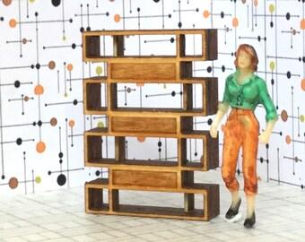 Quarter Scale Bookcase KIT 1/4 1:48 Mid Century Modern Dollhouse Miniature