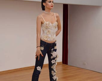 Bohemian Shabby Chic Jeans White flowers embroidery vintage old lace