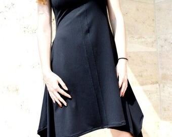 SALE SALE/Black  Dress/ Asymmetrical  Dress/ Little Black Dress/ Party Dress/ Unique Midi Dress ZM078