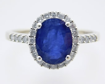 Large Oval Blue Sapphire and Diamond Halo Style Ring 14K White Gold SI2 #40406