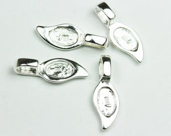 2pcs 925 Sterling Silver Glue-on Flat Pad Bails Jewellery findings - FDSSO0112