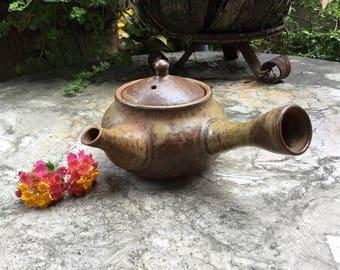 Japanese Small Stoneware Ash Glazed Yokode Kyusu Teapot 150 ml.