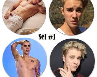 "Set of 4 Justin Bieber Shirtless 2.25"" Pinback Buttons or Magnets - Choose Your Favorite Set"