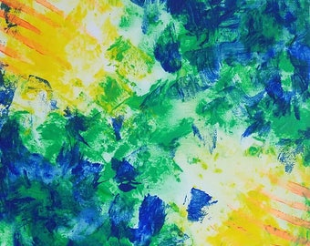 "Green, Blue, Yellow and Orange Original Acrylic Abstract Painting on Canvas ""Series 4 XLI"" Wall Art, Home Decor, Las Vegas Artist"