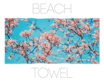 Turquoise Towel, Floral Beach Towels, Pink Flowers, Bath Decoration, Flower Towels, Womens Beach Towel, Hotel Towels, Spa Towel