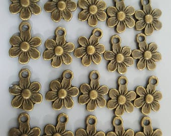 Flower Charms, Bronze/Antique Brass, 13x10mm - 20 Pieces