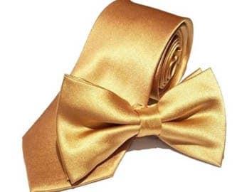 """Gold Wedding Tie or Bow Tie Groomsman Honey Gold Tie Regular Necktie 2.75"""" Groomsmen Neckties Best Man Usher Father of the Bride"""