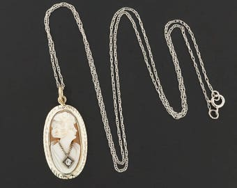 Vintage 14k Gold Cameo Pendant Necklace | Vintage Pin Conversion Pendant with 10k Gold Chain | Carved Shell Cameo | Cameo Habille