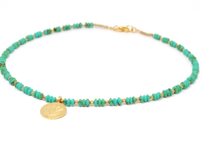 Delicate Turquoise Choker Necklace, Lotus Necklace, Boho Necklace, Bohemian Jewelry, Turquoise Necklace, Boho Choker, Delicate Choker