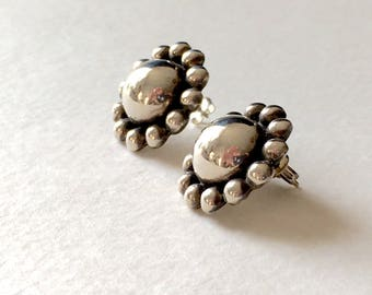 Vintage sterling silver flower post earrings mexico