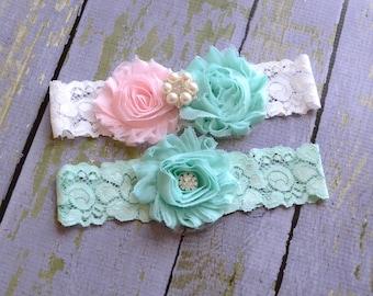 Wedding Garter Set, Garter, Toss Garter, Lace Garter, Bridal Garter, White Lace, Pink Blue Keepsake Garter
