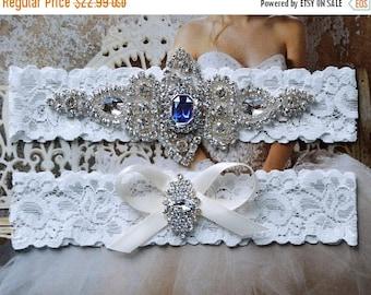 ON SALE Wedding Garter Set, Bridal Garter Set, Vintage Wedding, White Lace Garter, Something Blue, Blue Garter Belt, Blue Wedding Garter- St