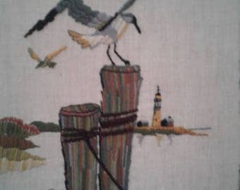 Vintage 1993 Needle Point/ Sea Gulls/Lighthouse