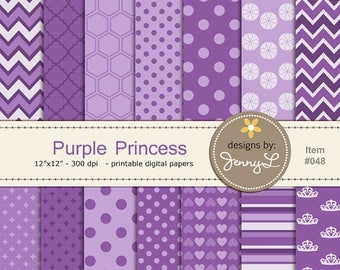 50% OFF Purple Princess Digital Papers, Crown Hearts Scrapbooking, Cards, Invitations, Labels, Cake Toppers etc