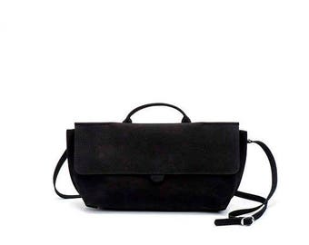 Black Leather Purse / Women's Bag / Evening Clutch / Top Handle Handbag / Crossbody Purse / Shoulder Bag / Small  Every Day Bag - Romie
