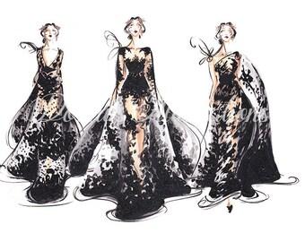 Black Wall Art, Fashion Illustration, Blackart, Black Decor, Fashion painting, Fashion Wall Art, Fashion Sketch, Fashion print