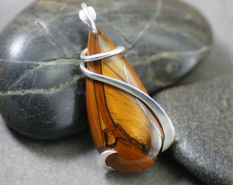 Tiger Eye Teardrop Sterling Silver Cold Forged Pendant